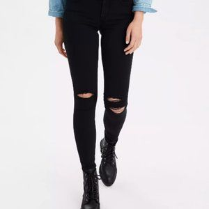 AE Next Level Stretch Distressed Black Jeggings 4